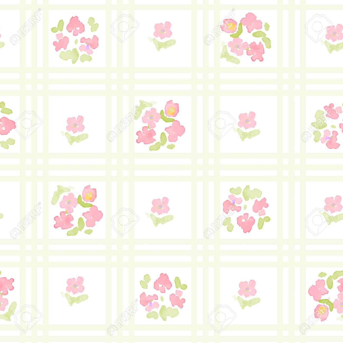 ストライプ クロスの英語花柄 ヴィンテージの花壁紙のイラスト素材