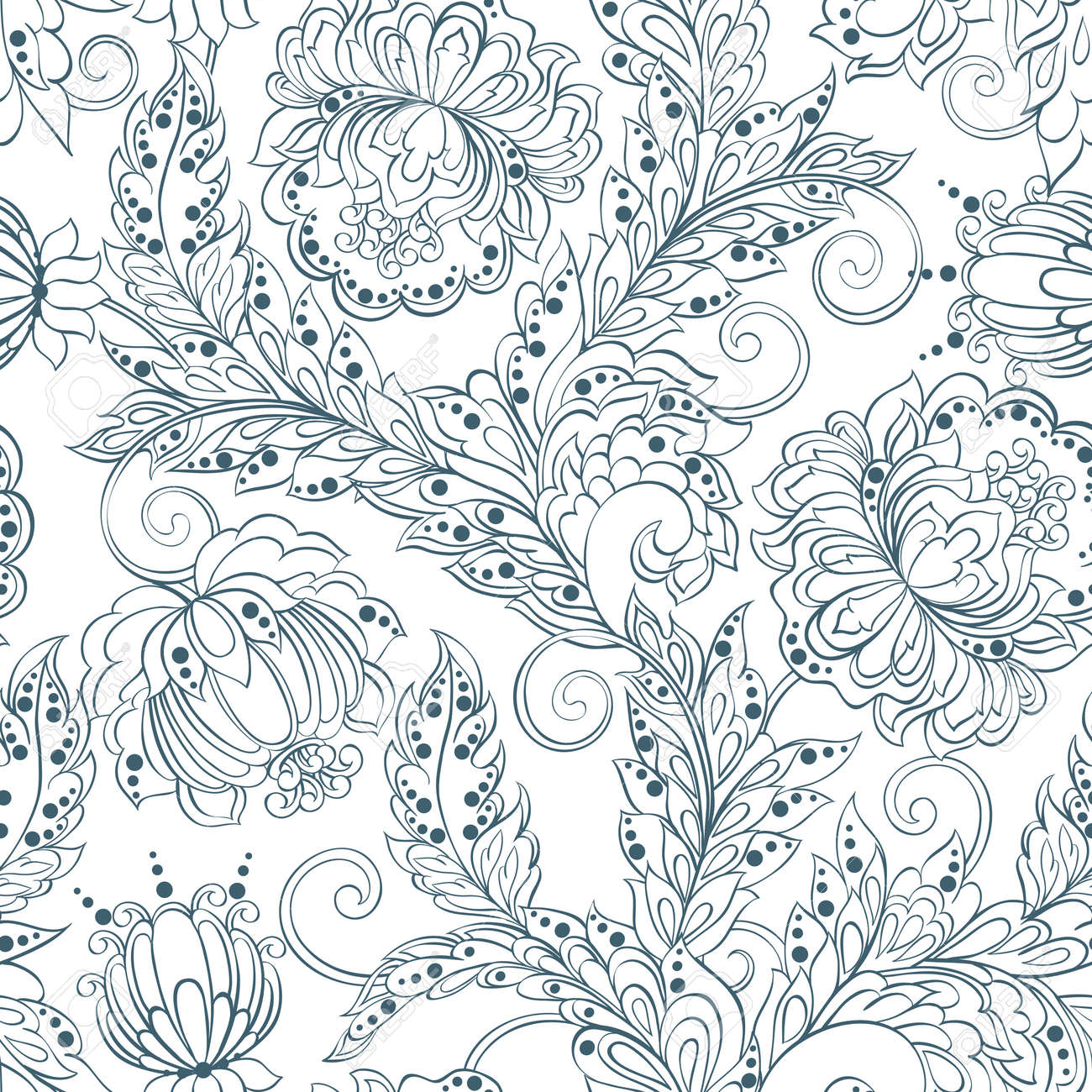 Seamless Pattern With Flowers In Persian Style Floral Vector Royalty Free Cliparts Vectors And Stock Illustration Image 61438834