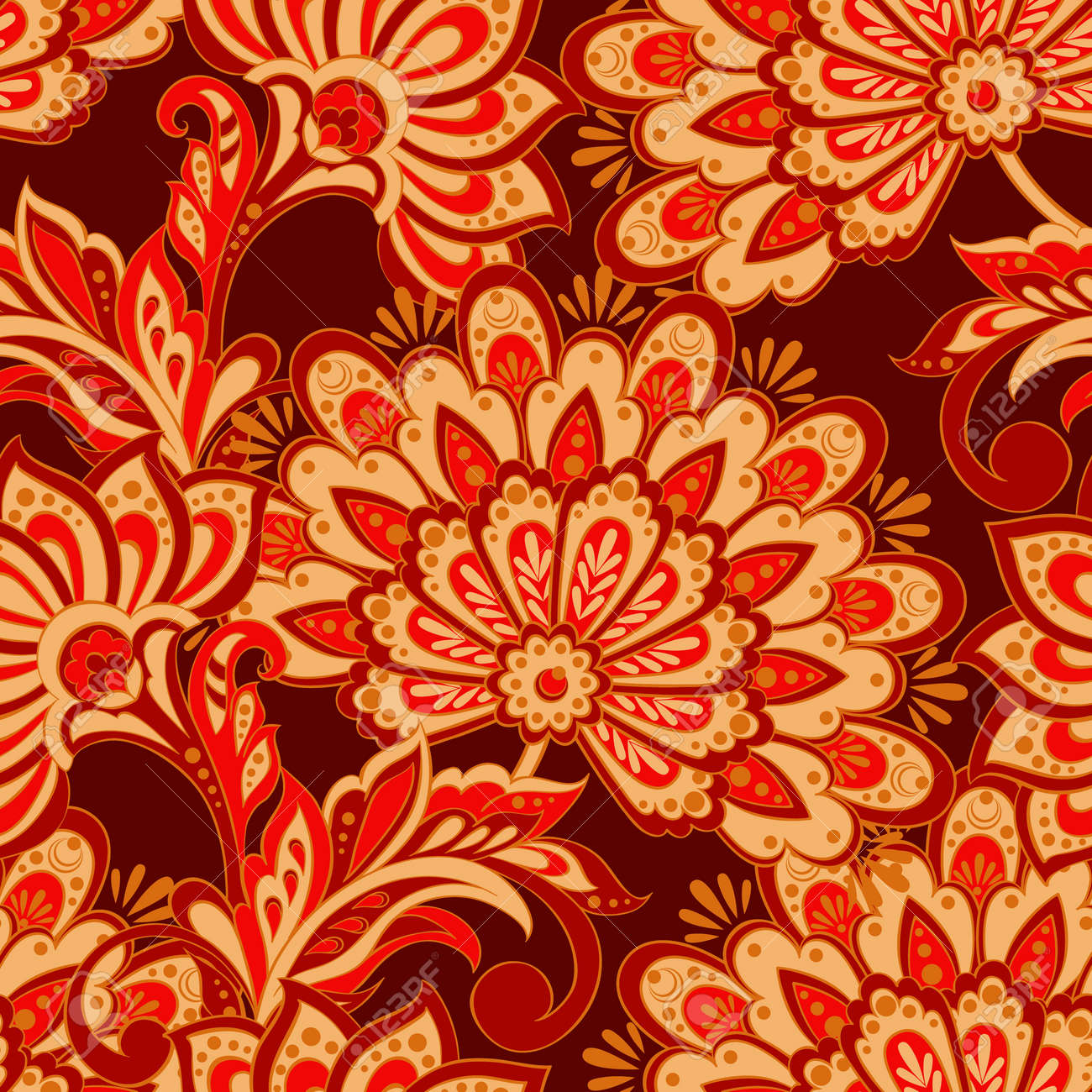 Vintage Pattern In Indian Batik Style Floral Vector Background