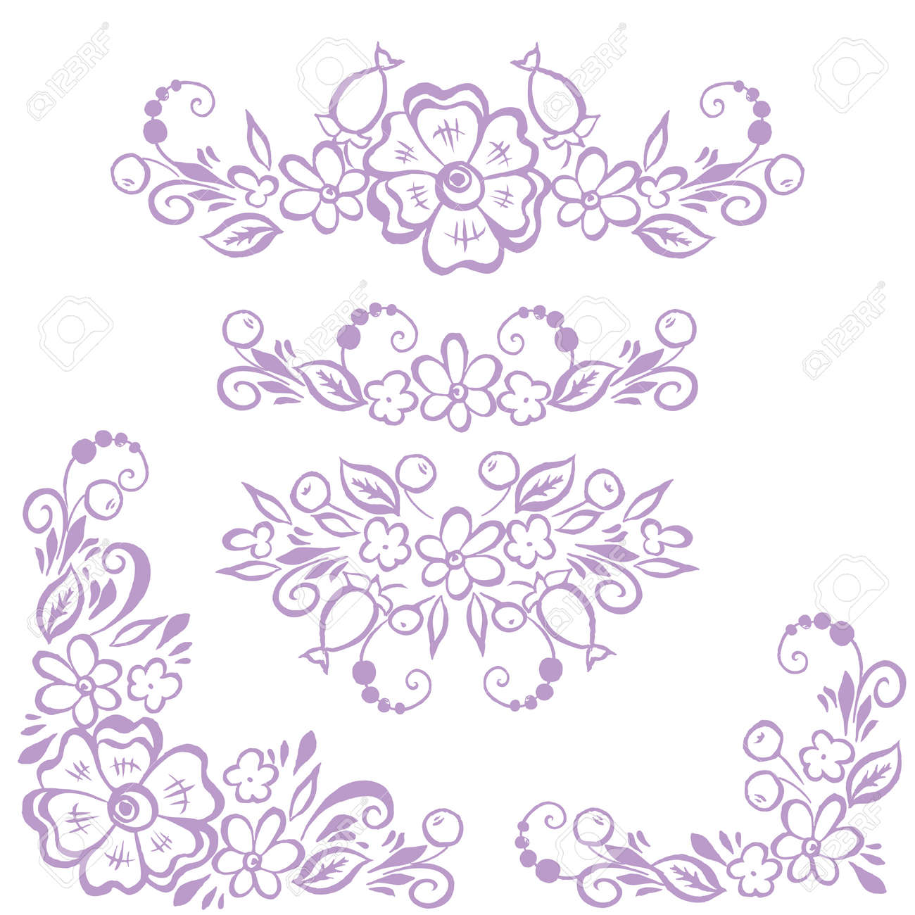 graphic about Printable Embroidery Patterns known as Preset of borders, ornamental supplies for style and design, print, embroidery