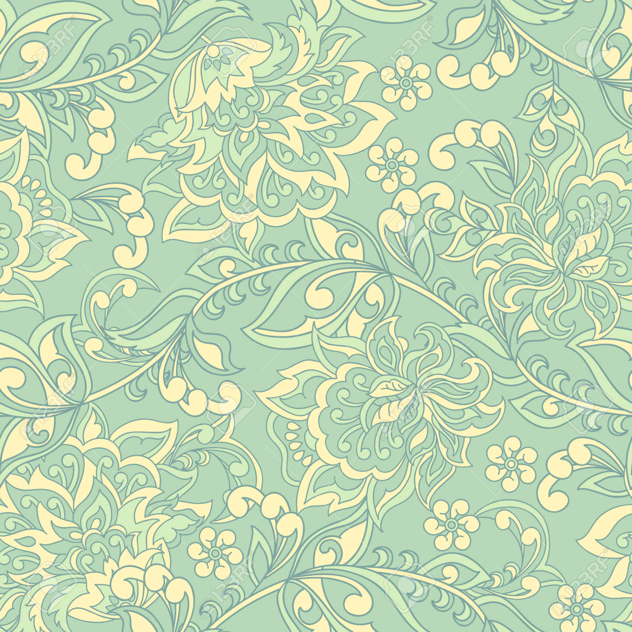 Damask Seamless Pattern Floral Vintage Wallpaper Royalty Free