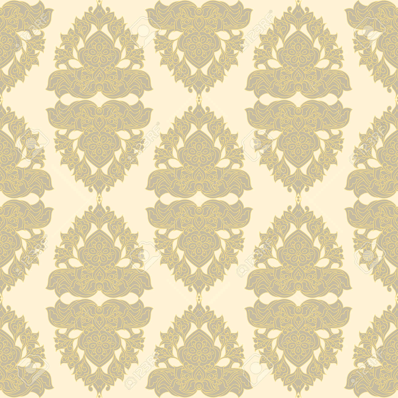 Baroque Style Wallpaper Seamless Vector Pattern Stock