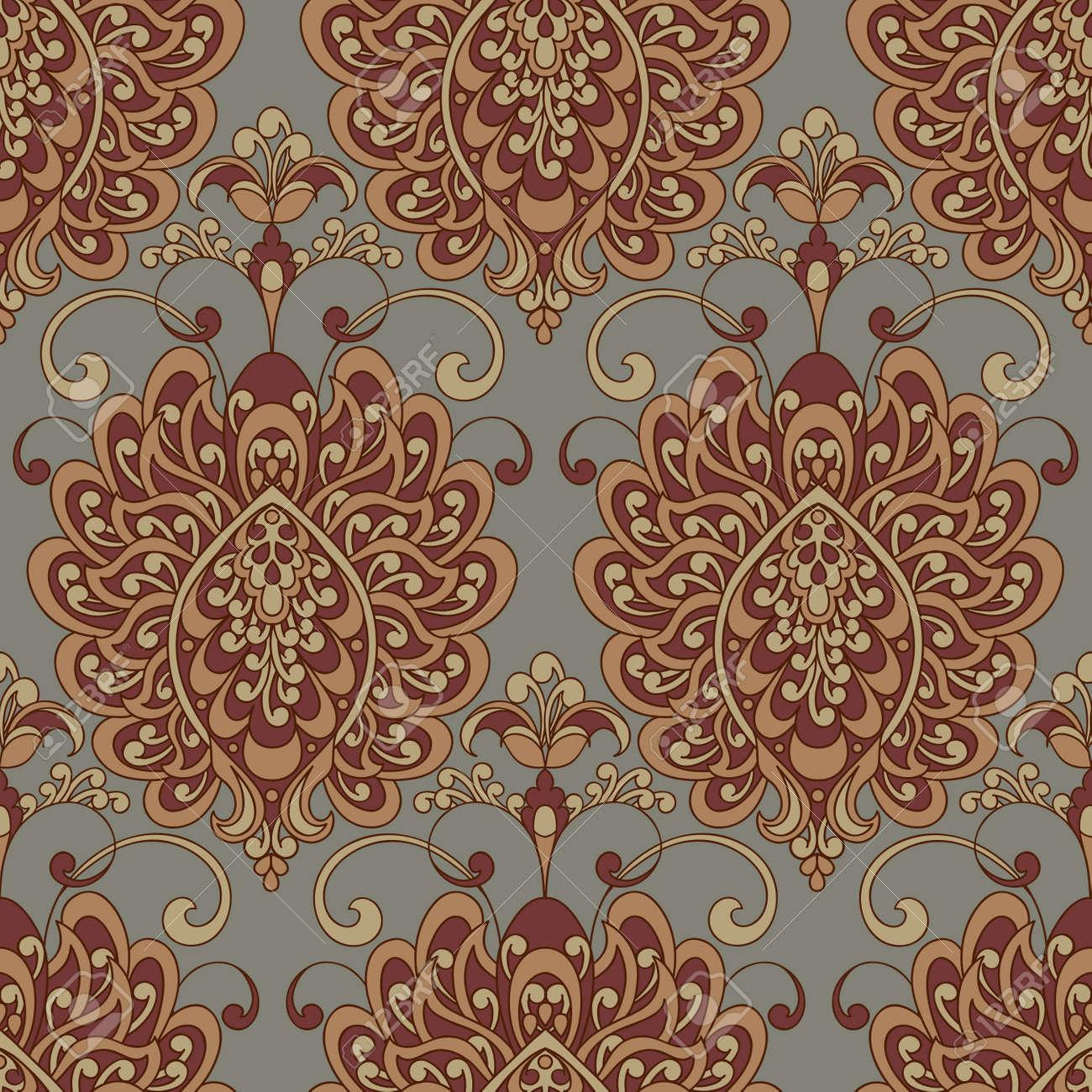 Carta Da Parati Tessuto stampa con texture vettoriale. damasco seamless vintage pattern. può essere  utilizzato per carta da parati, tessuto, invito