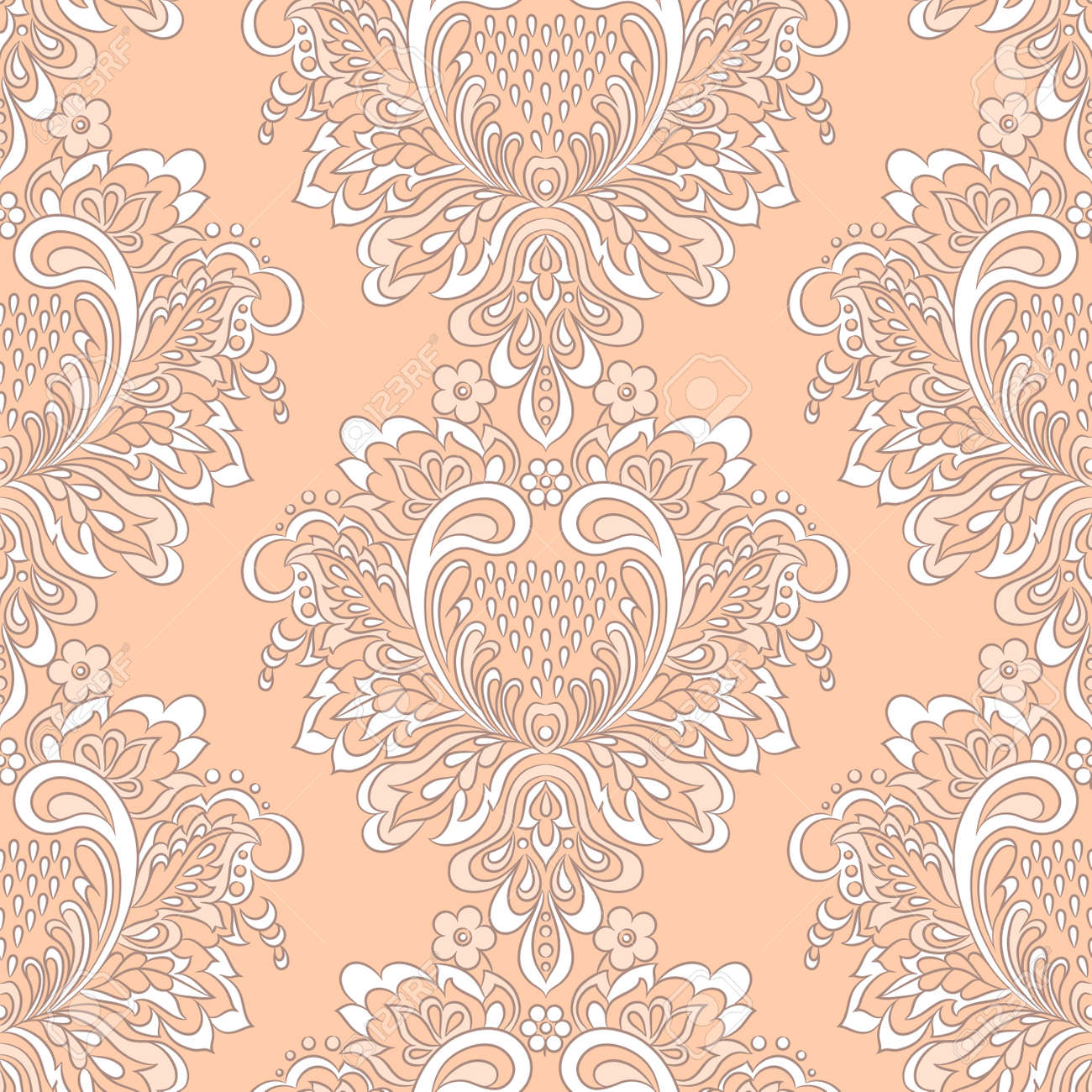 Baroque Style Wallpaper Floral Seamless Vector Background Stock