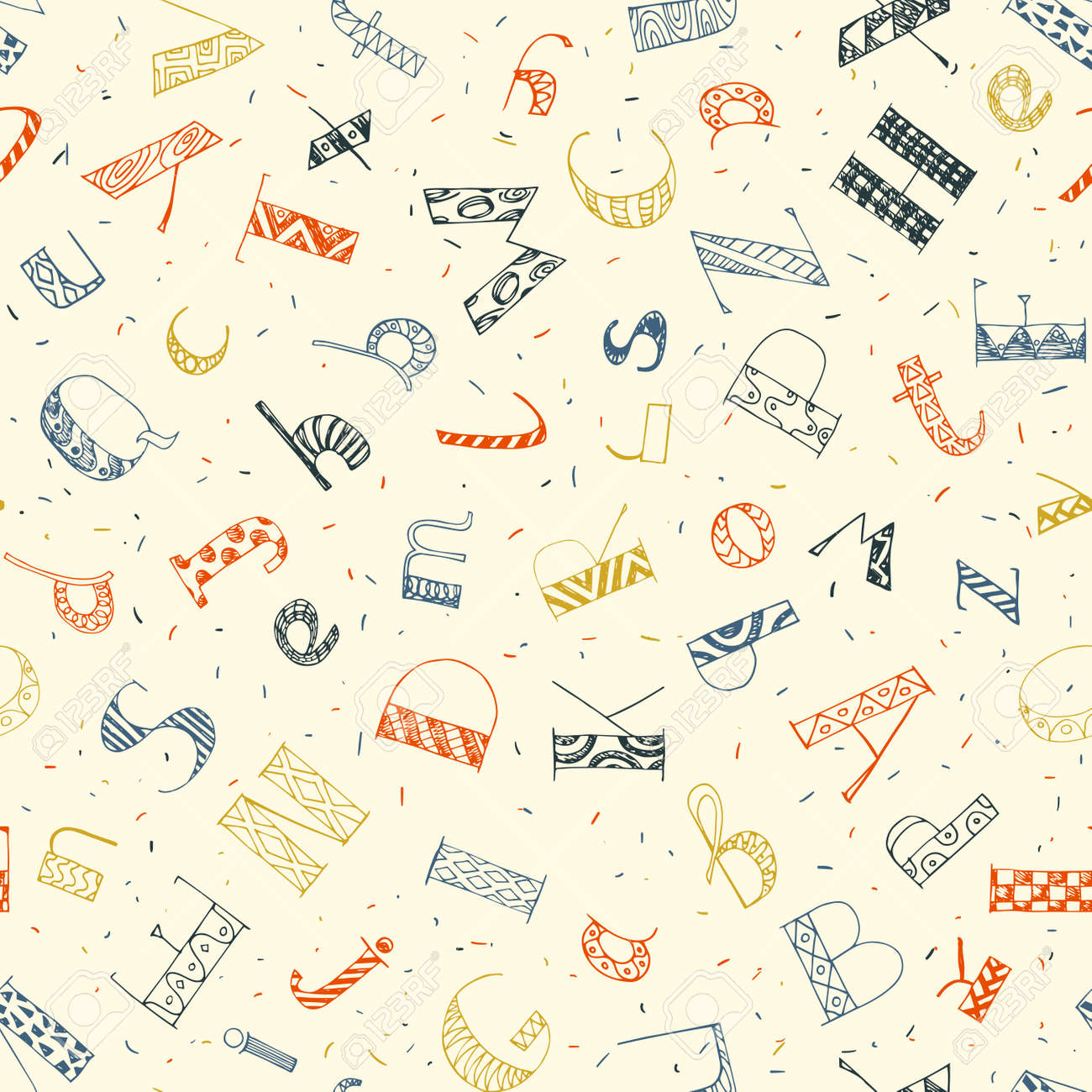 colorful hand drawn doodle letters seamless pattern  education