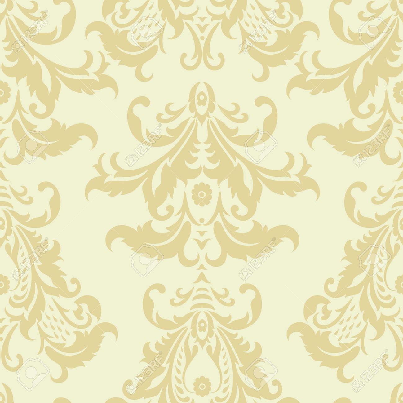 Damask Floral Wallpaper Vintage Vector Seamless Pattern Royalty