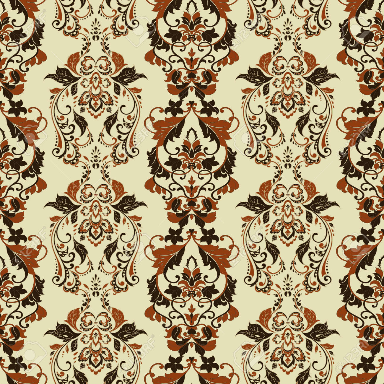 Vintage Floral Wallpaper Seamless Vector Pattern Royalty Free