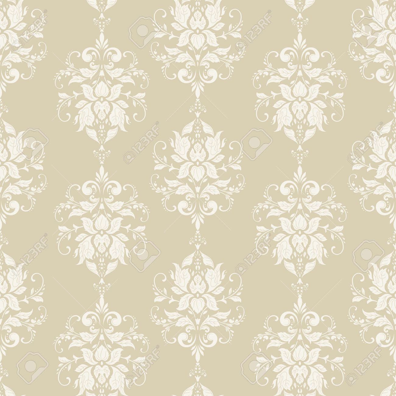 Vector floral wallpaper. Classic Baroque floral ornament. Seamless vintage pattern - 122714045