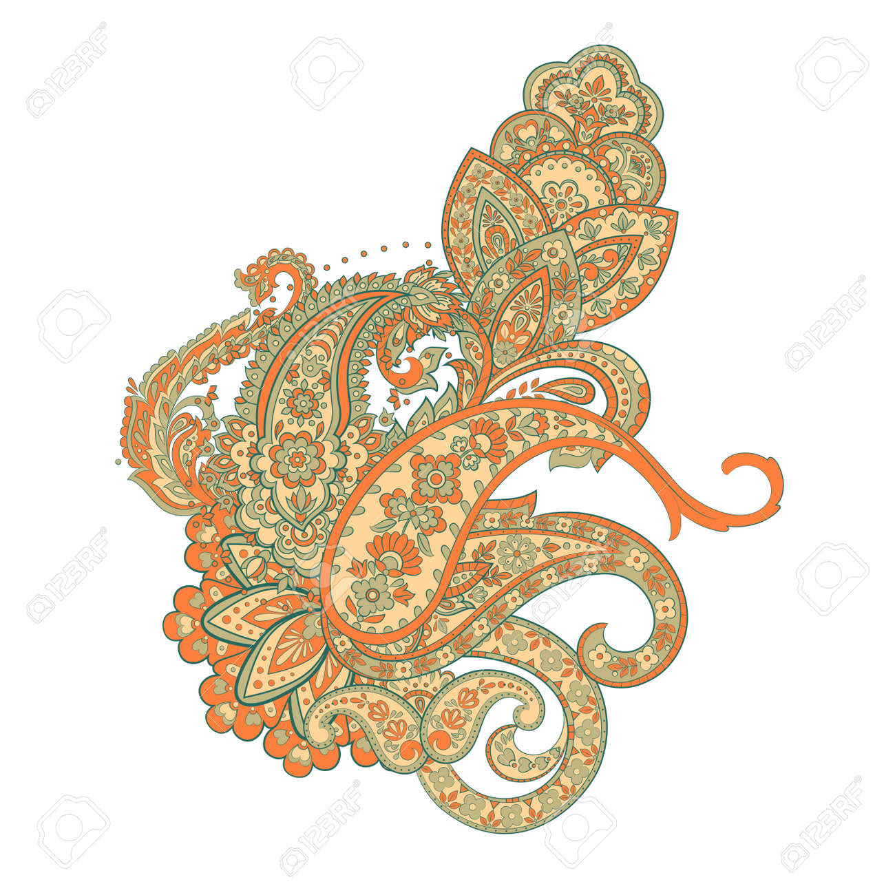 Indian, Persian Paisley isolated ornament - 125597293