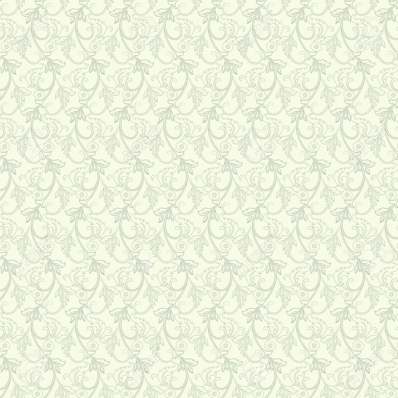 Striped seamless floral background. Vintage Wallpaper vector Illustration - 134845066