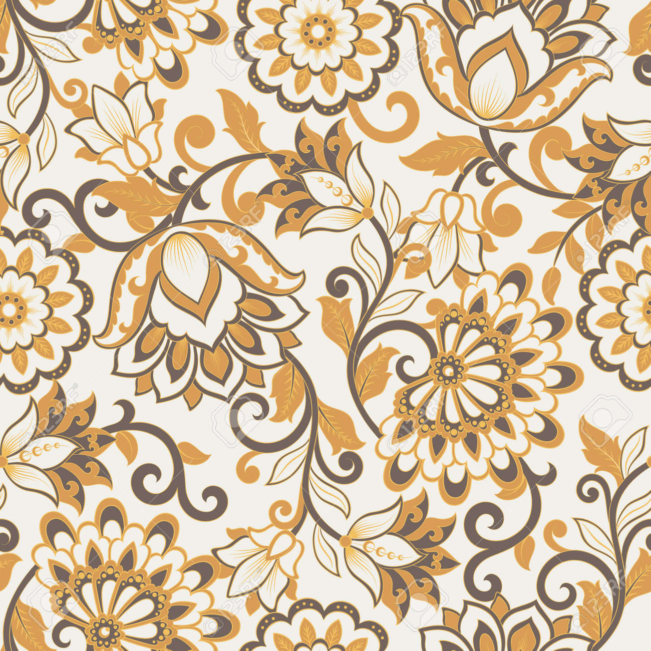 floral vector illustration in damask style. Seamless background - 138435239