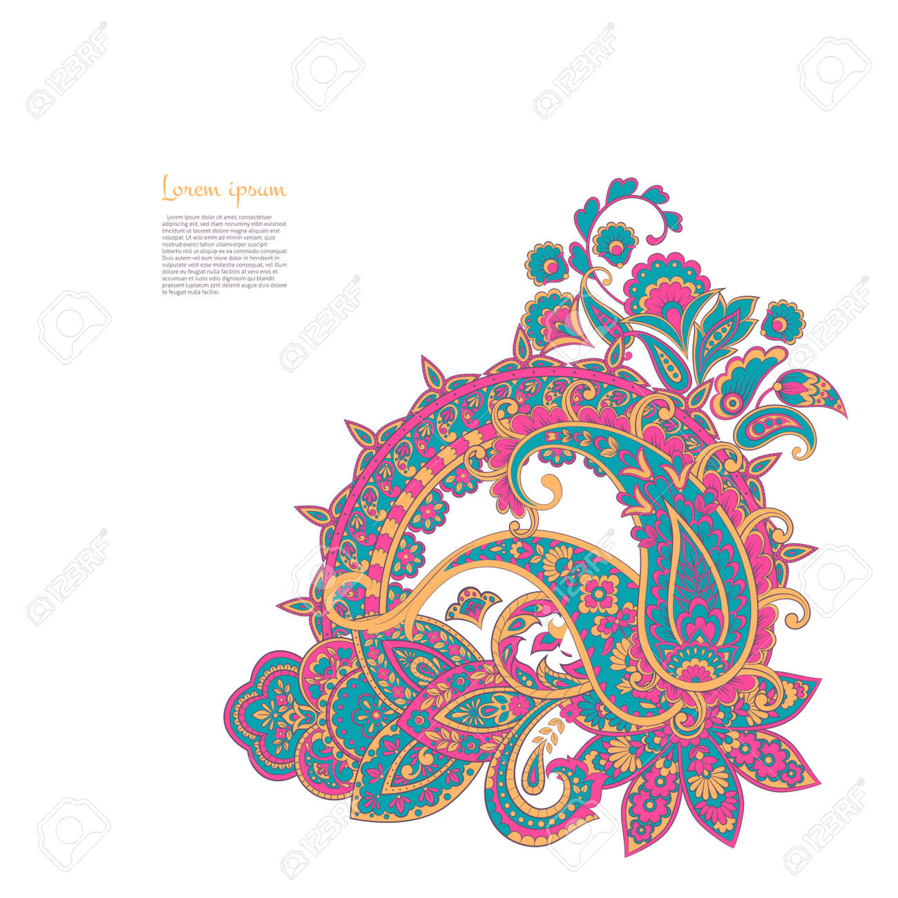 Paisley isolated pattern. Vintageillustration in Damask style - 157011512