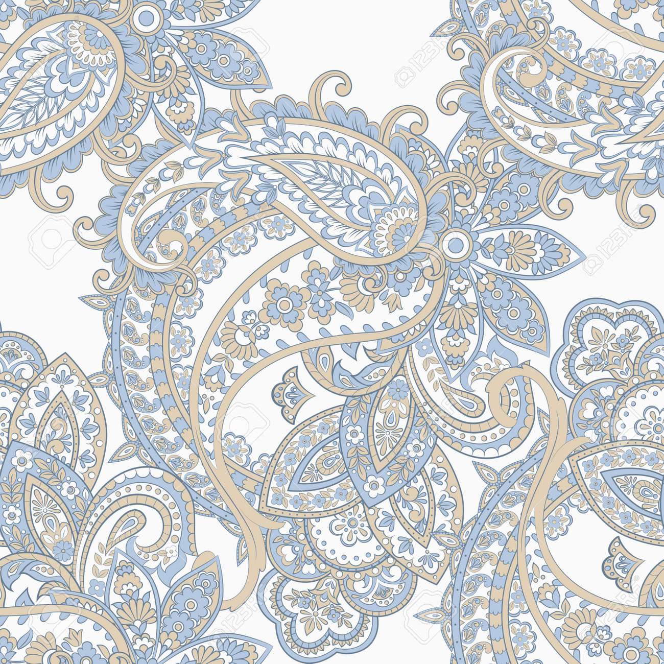 Paisley seamless pattern with flowers in indian style. - 157132365