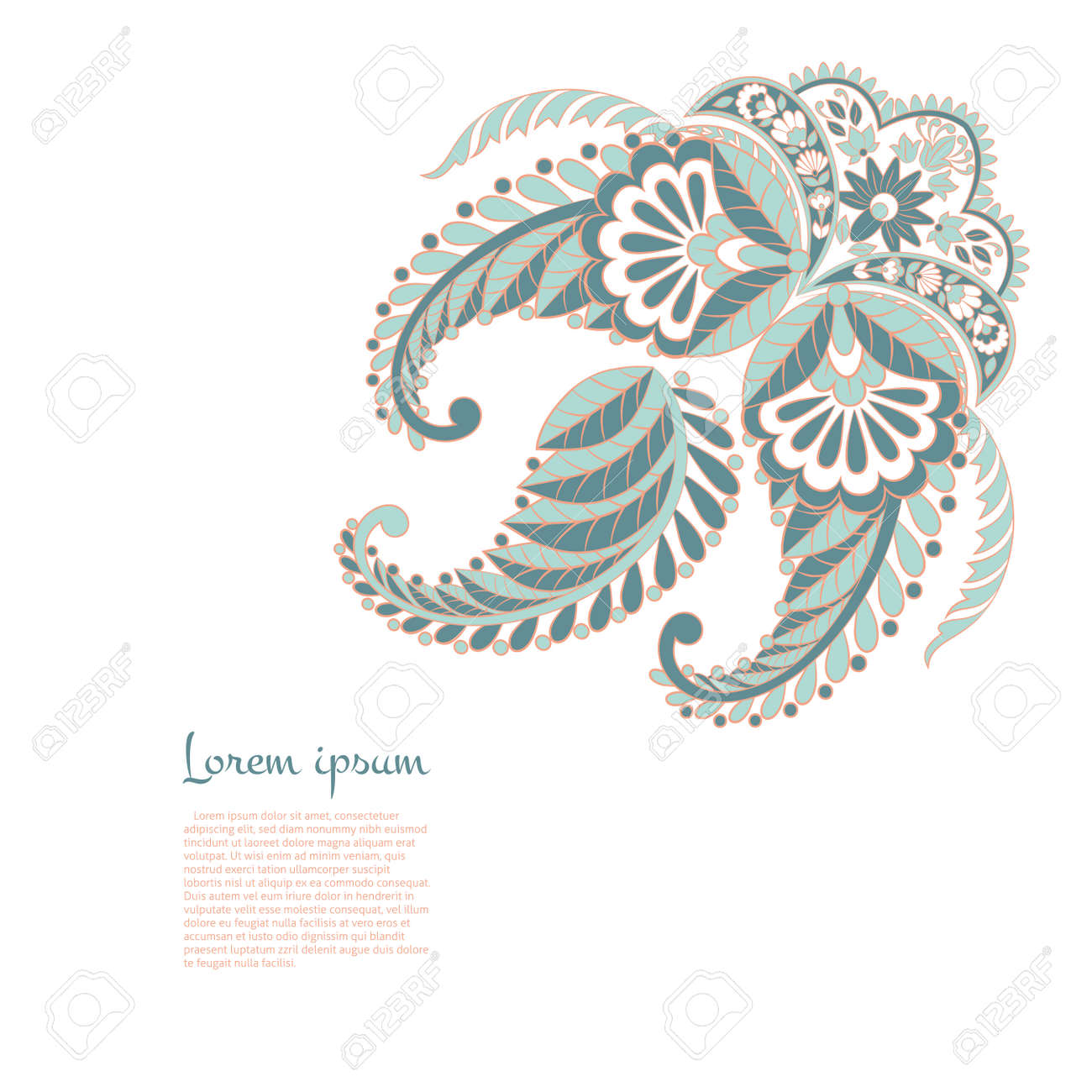 isolated paisley vector ornament - 158606910