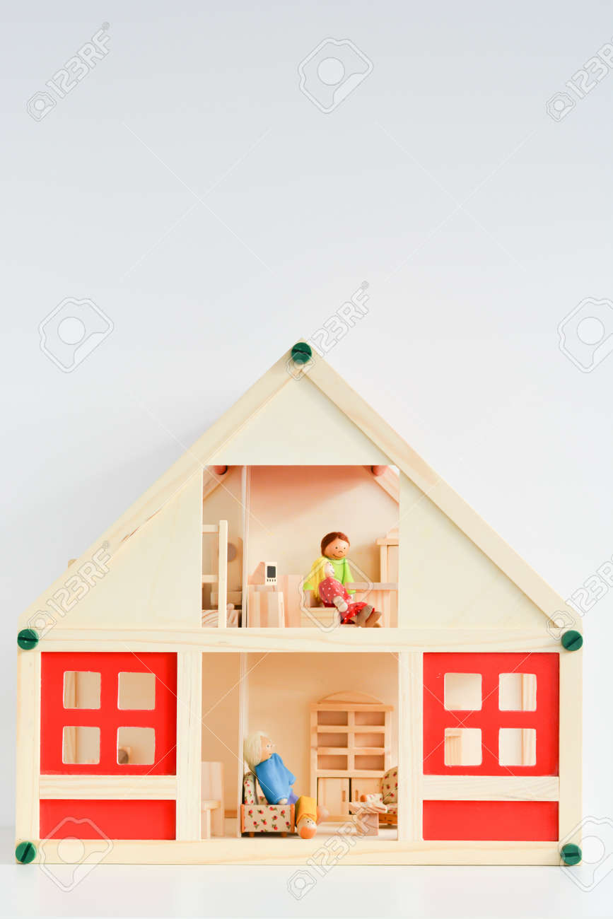 Girls Dollhouse Isolated On White Background Stock Photo Picture