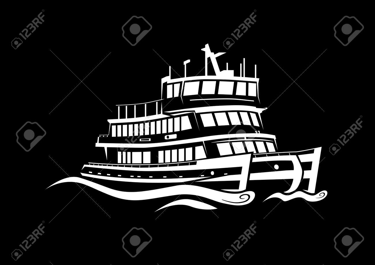 Discerning loose style harbor ferry cruising black negative creating waves in calm sea Stock Photo - 18430814