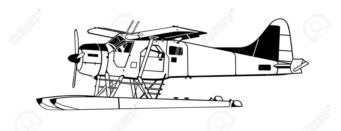 Indiscrete style black white propeller driven seaplane skimmers