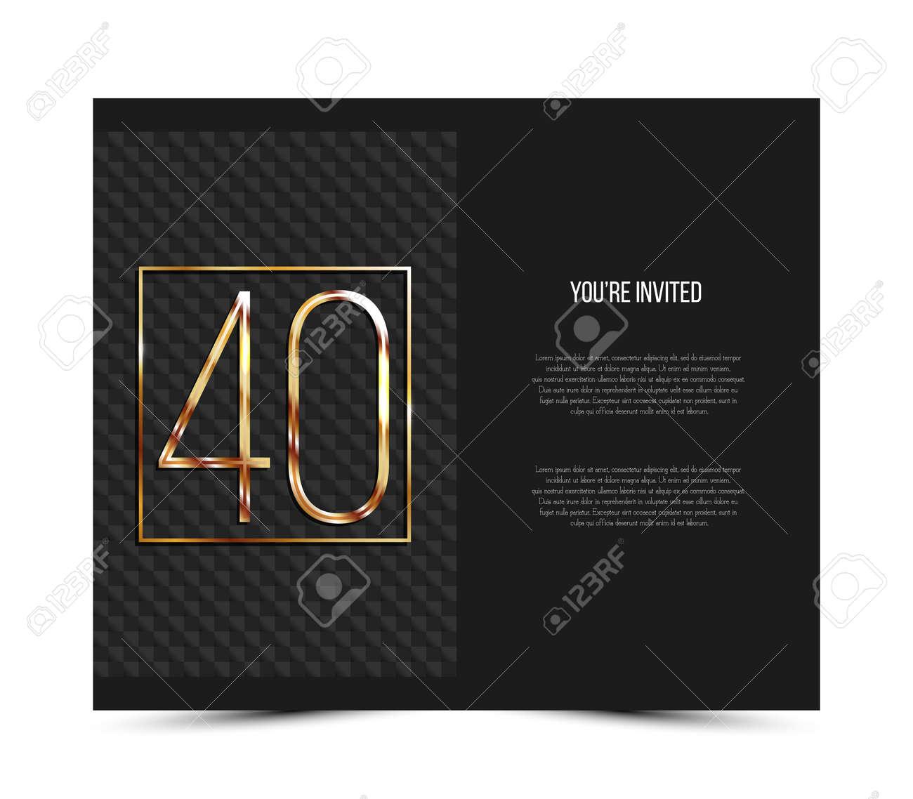 40th Anniversary Invitation Card Template Vector Illustration