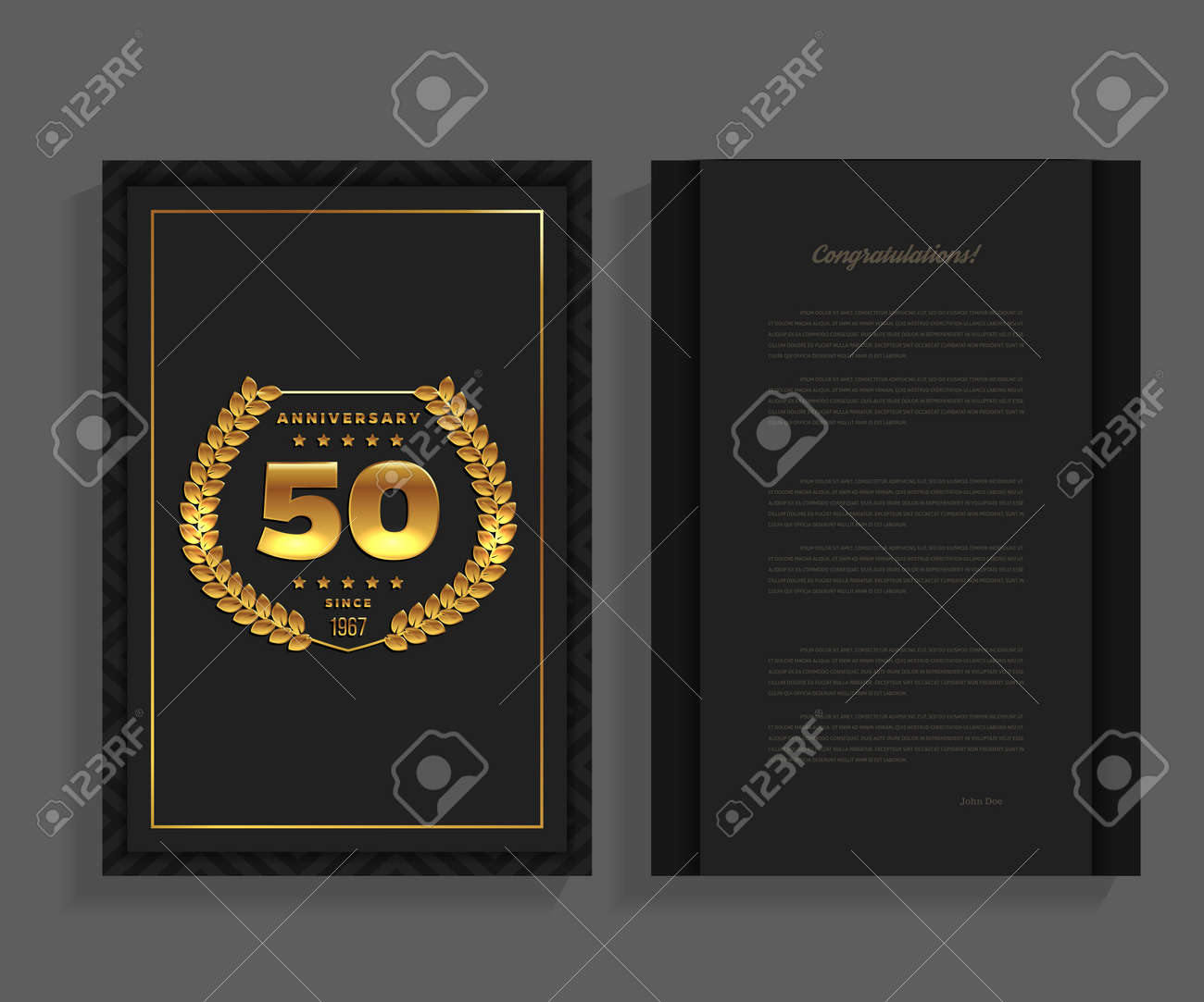 50th Anniversary Decorated Greeting Or Invitation Card Template In Gold Standard Bild
