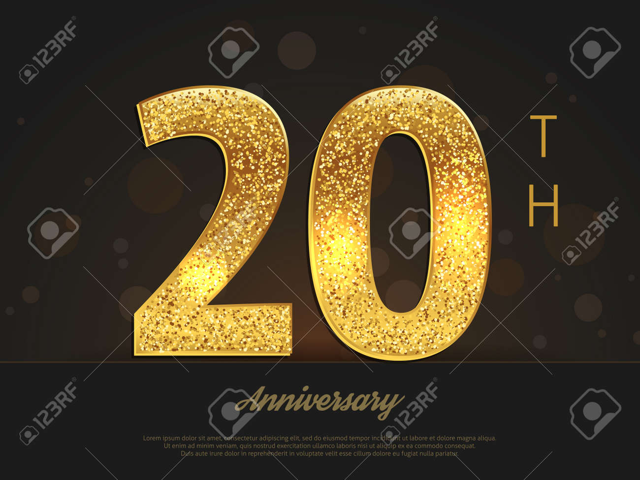 20 years happy anniversary decorated card template with gold elements vector illustration stock vector