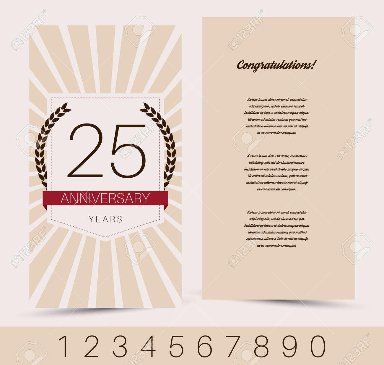 Anniversary Invitation Greeting Card Template Vector Illustration