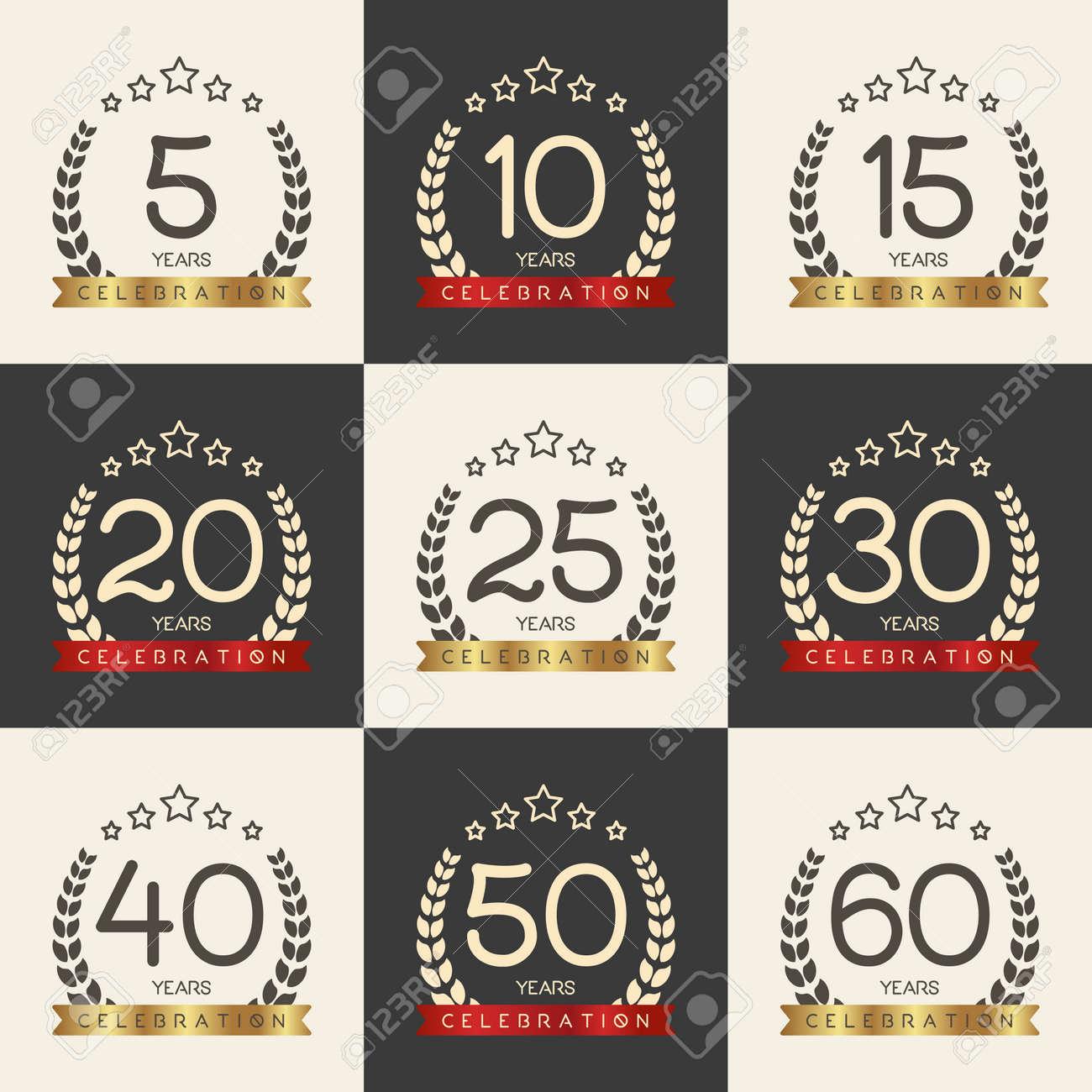Vector Set Of Anniversary Symbols 5th 10th 15th 20th 25th