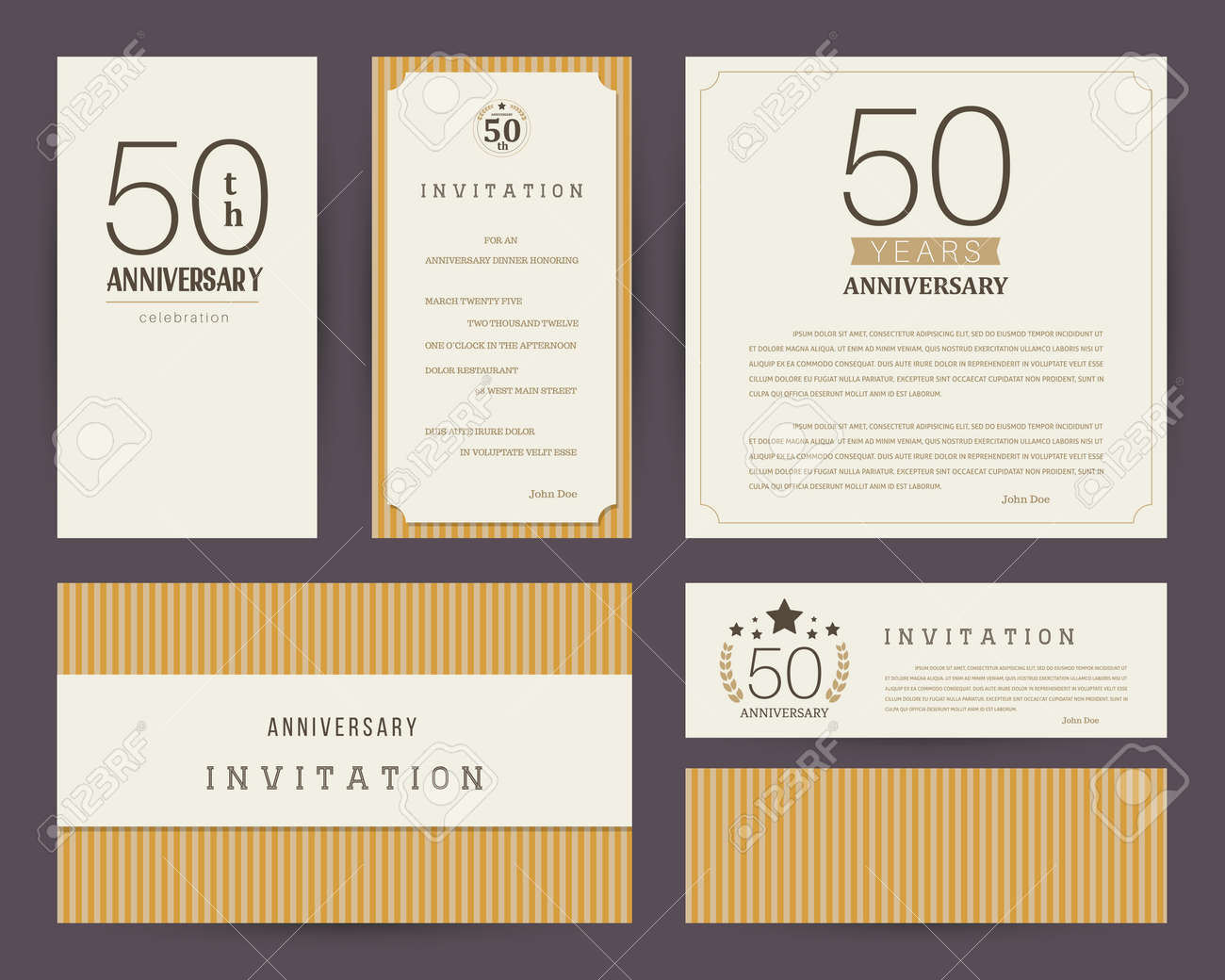 50th anniversary invitation cards template. Stock Vector - 98089602