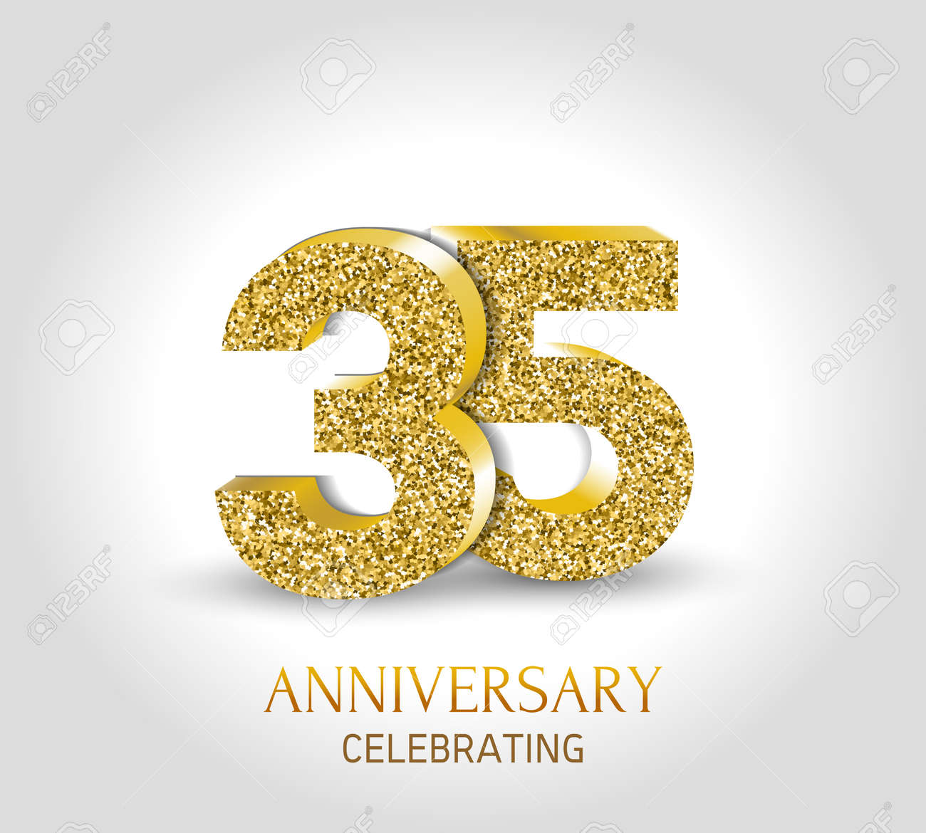35 year anniversary banner 35th anniversary 3d logo with gold