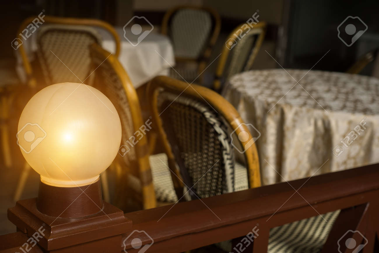 Antique Garden Lights With Solar Battery In Cafe. Closeup Shot Stock Photo    98798127