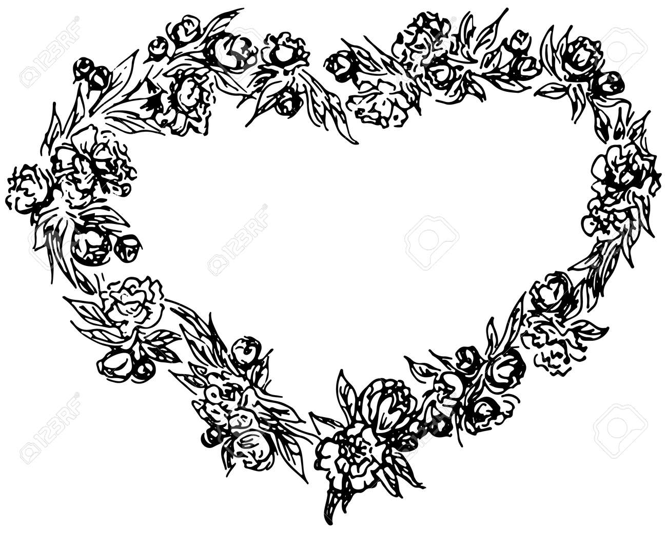 vector wreath in form of heart. Floral circle frame design elements for invitations, greeting cards, posters, blogs. Delicate set of flowers, branches and leaves - 122345786