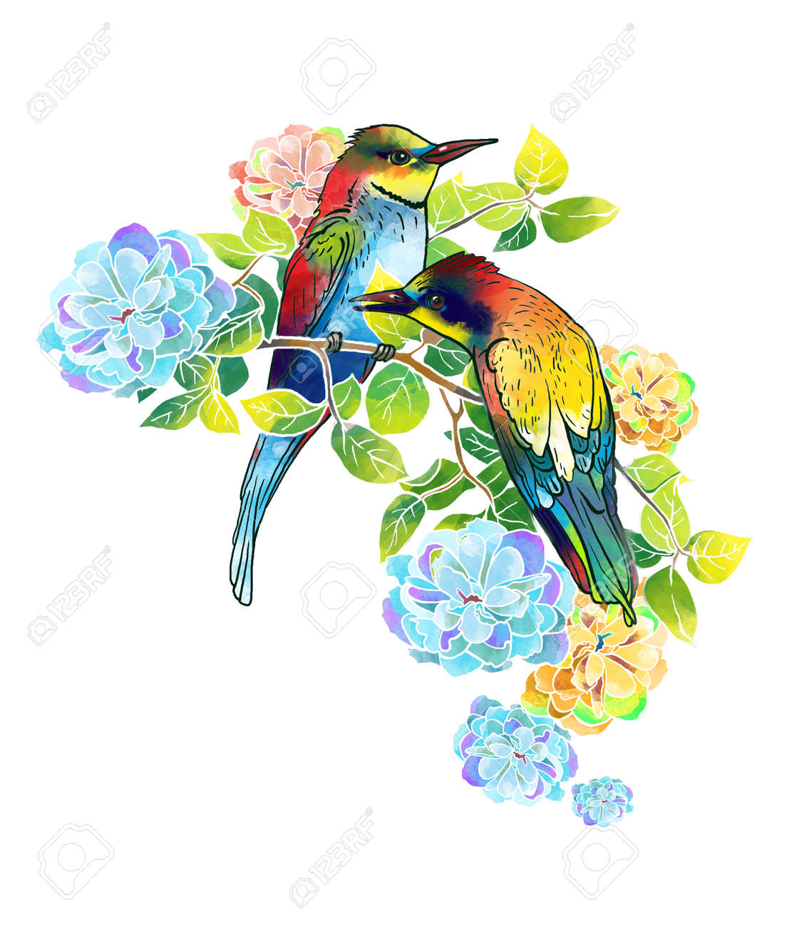 Artwork watercolor beautiful birds and delicate flowers stock photo 29392730