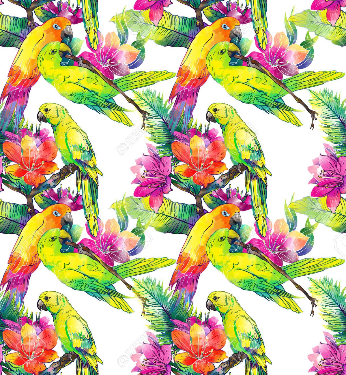 Banque d\u0027images , Les perroquets jaunes et de fleurs exotiques sur un fond  blanc