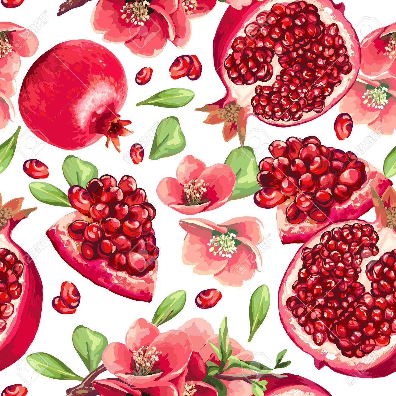 Pomegranate fruit and flowers of pomegranate tree. Seamless pattern. Standard-Bild - 71665883