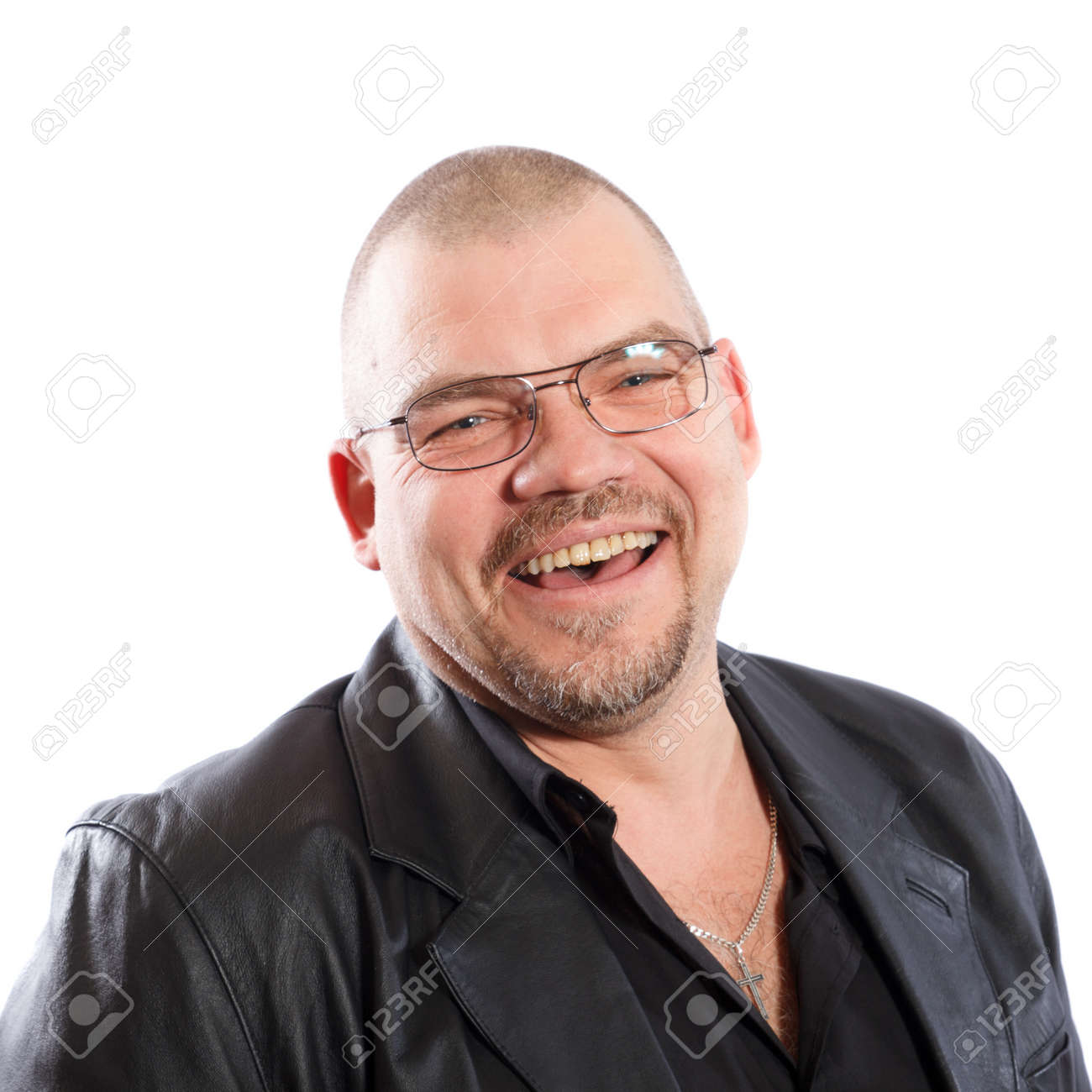 smiling man with glasses without hair on a white background Stock Photo - 18766715