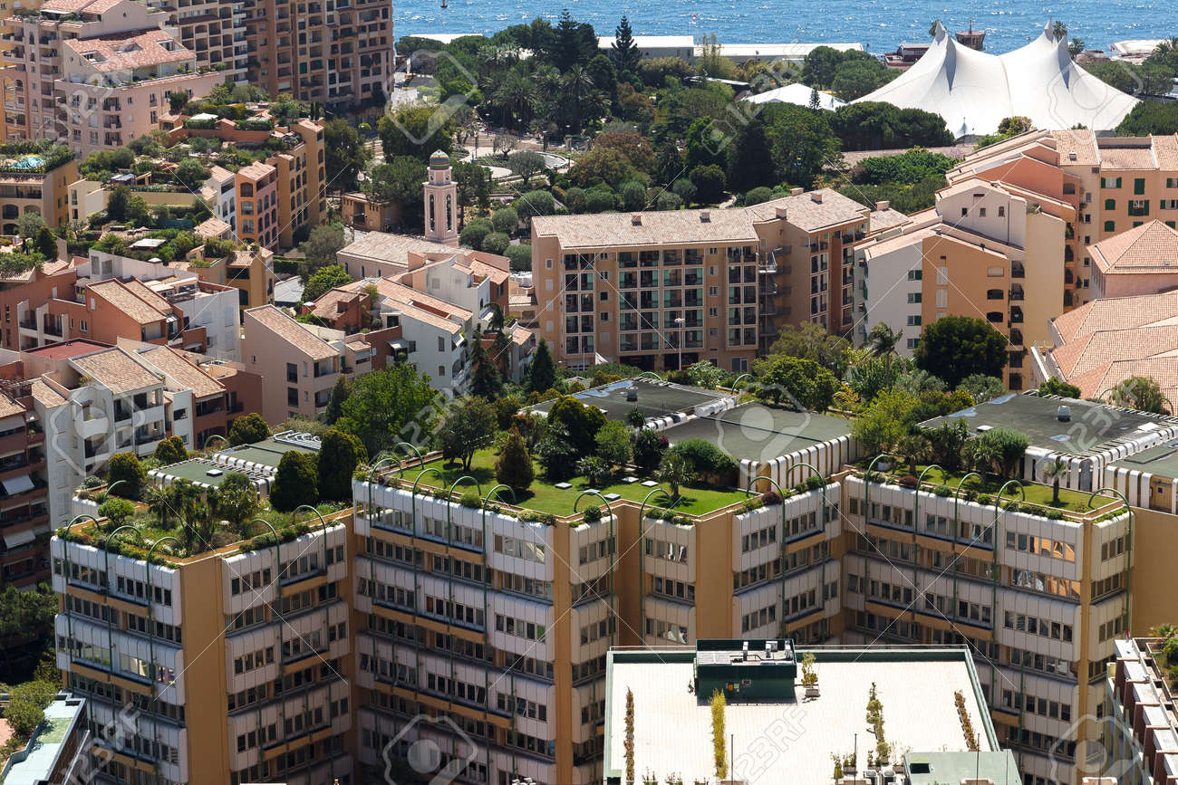 Monaco building roofs with green gardens on - 39008599