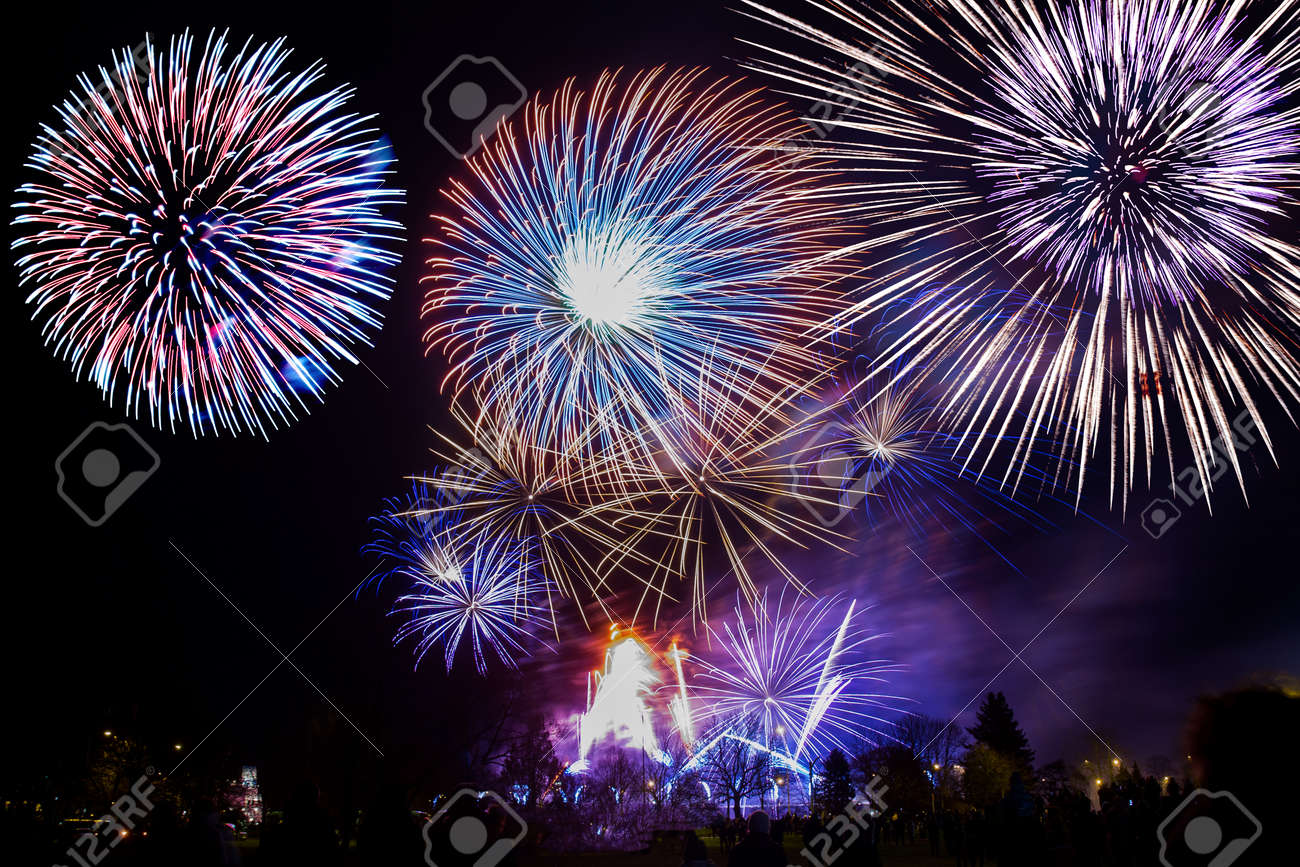 colorful fireworks on the night sky background. - 130092588