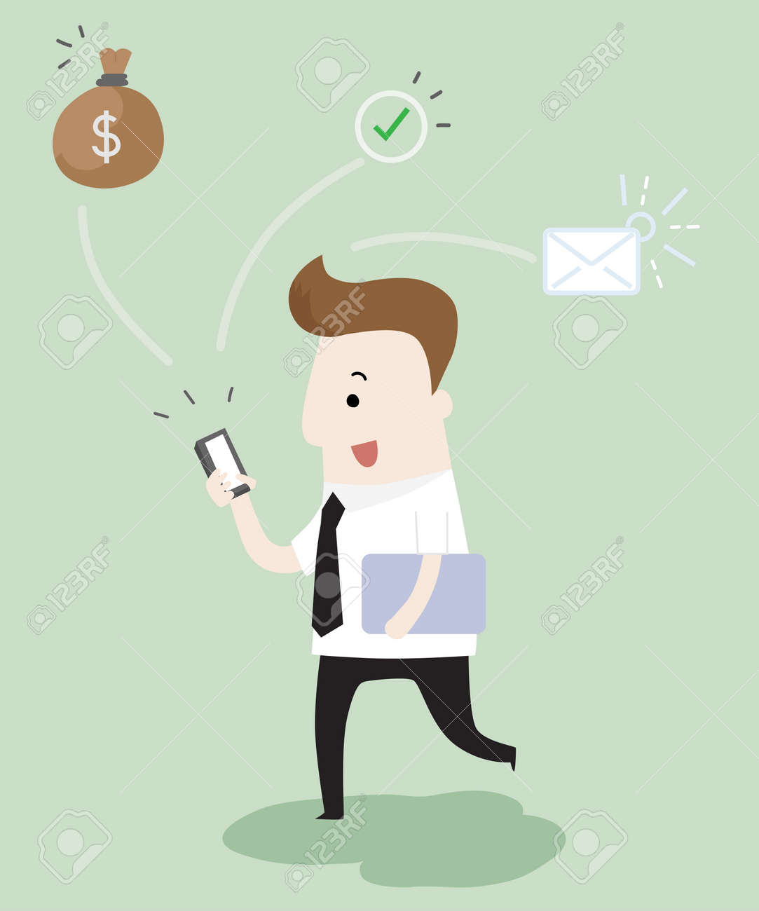 Businessman recieve messages ,vector and illustration - 126777694
