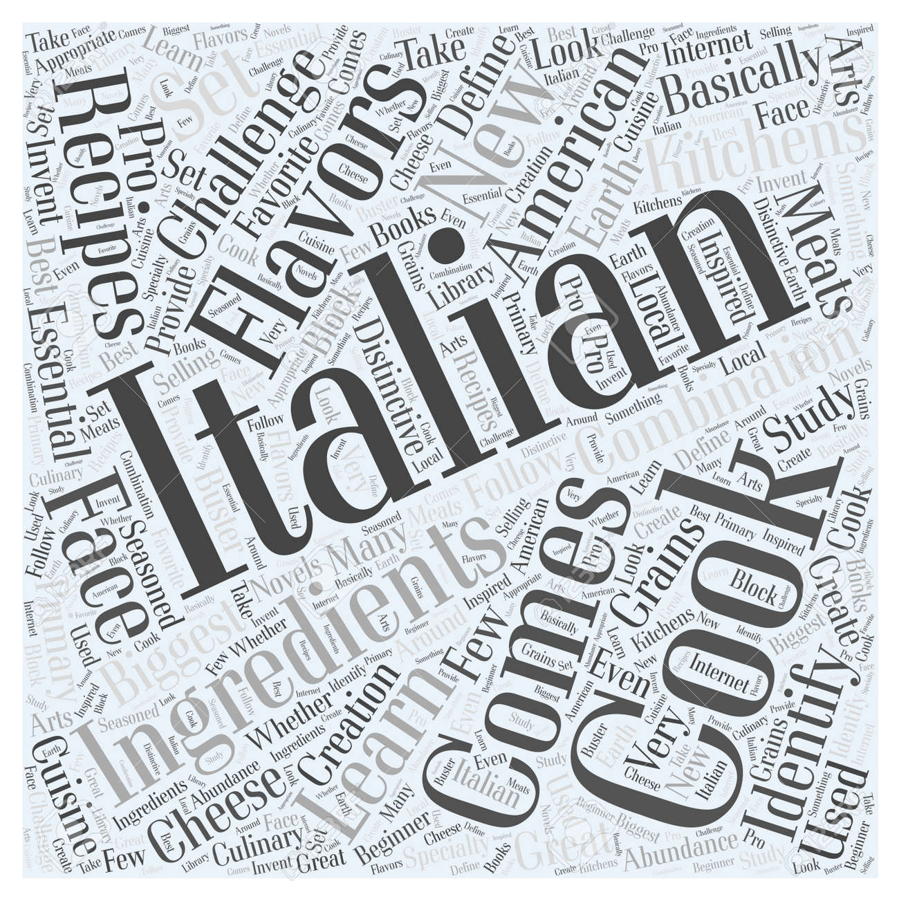 Italian Cooking in American Kitchens word cloud concept