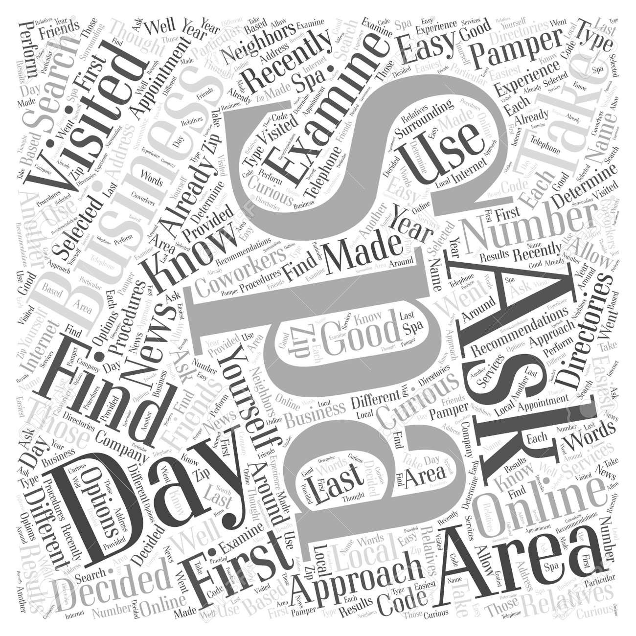 how to find day spas in your area word cloud concept royalty free Production Word how to find day spas in your area word cloud concept stock vector 67486136
