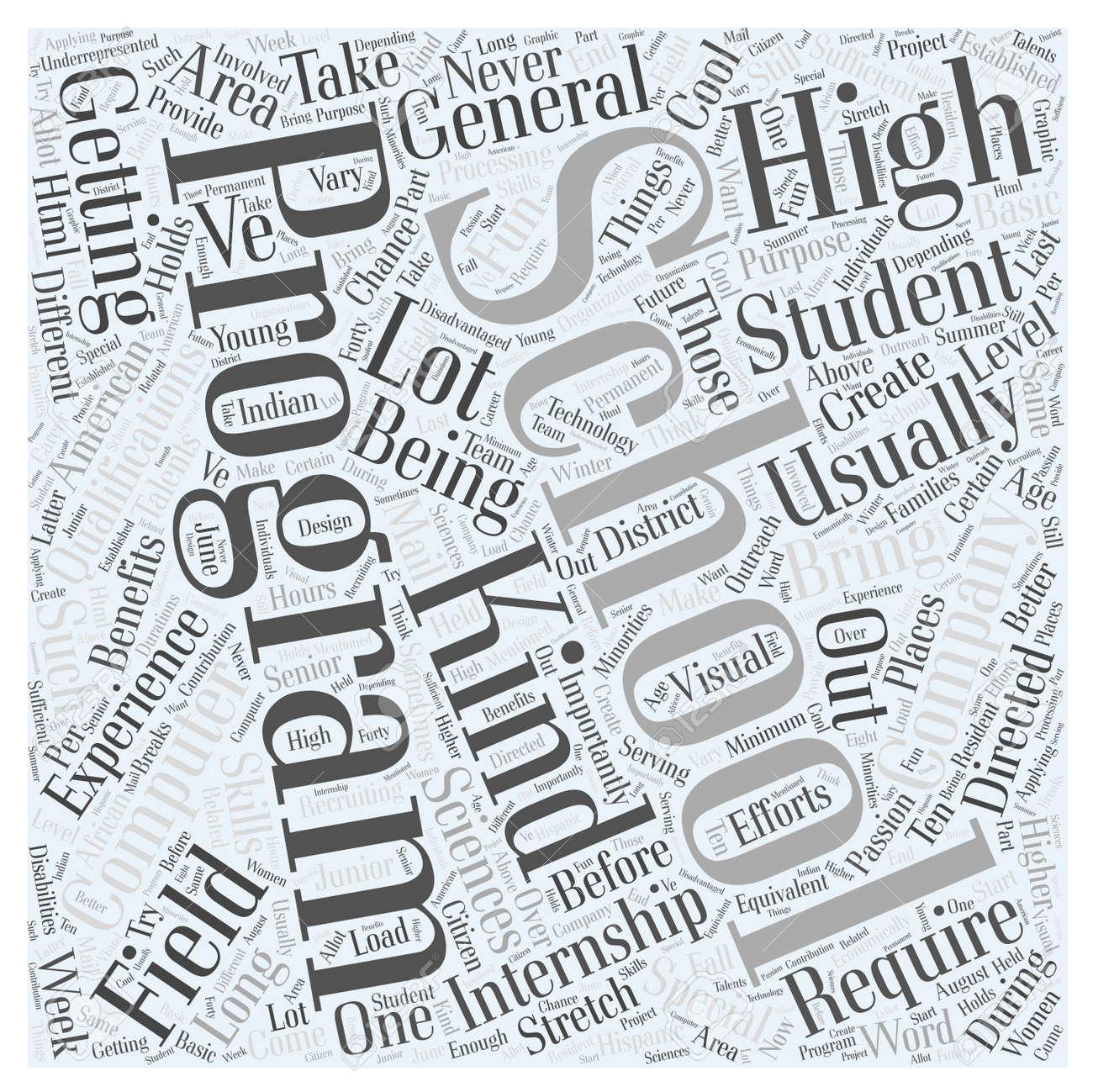High School Internships For Computer Sciences word cloud concept
