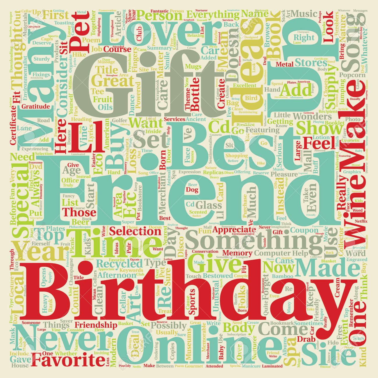 Best Friend Birthday Gift Ideas Text Background Wordcloud Concept Stock Vector