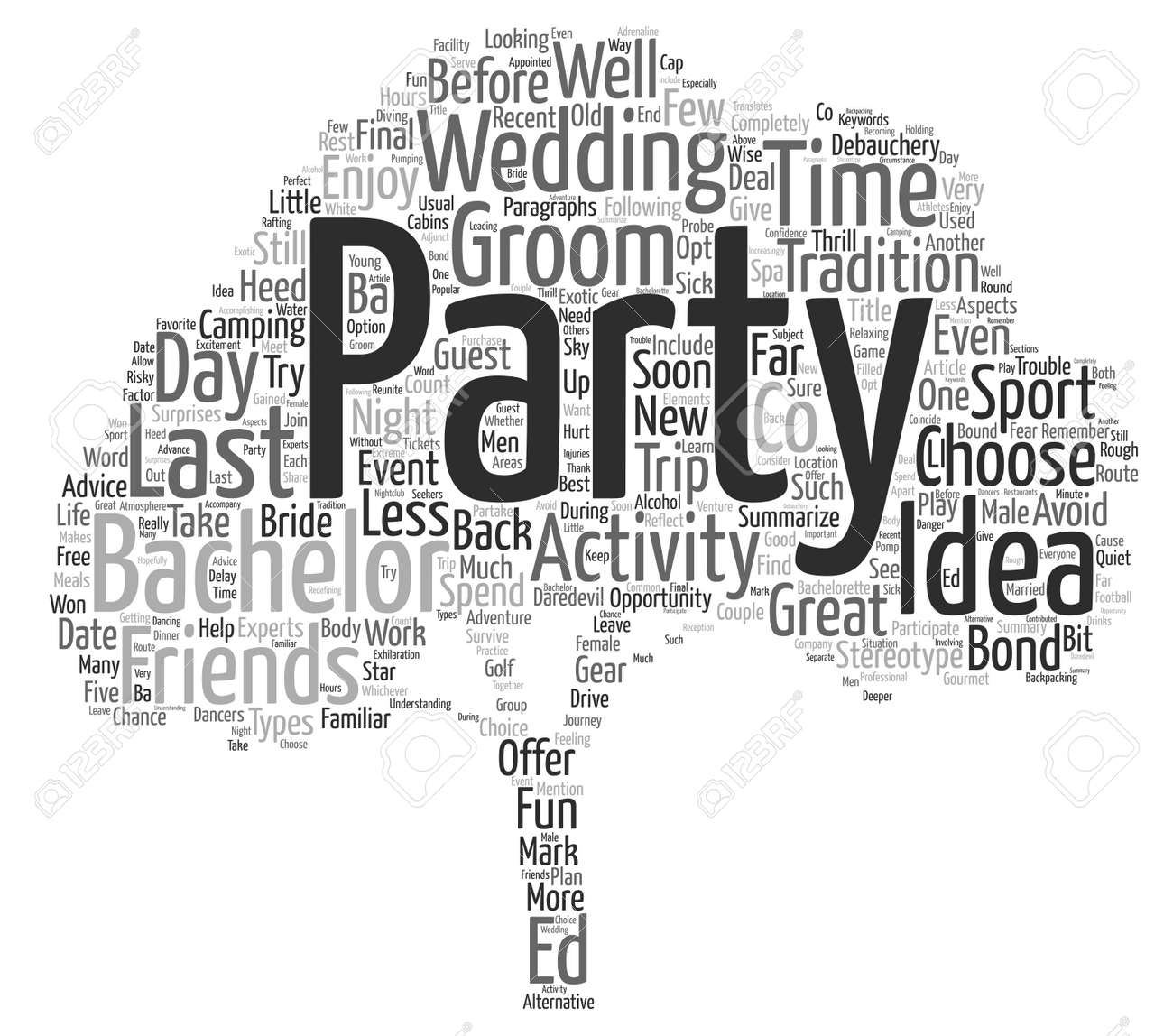 Hedendaags Bachelor Party Ideeën Word Cloud Concept Tekst Achtergrond Royalty YO-86