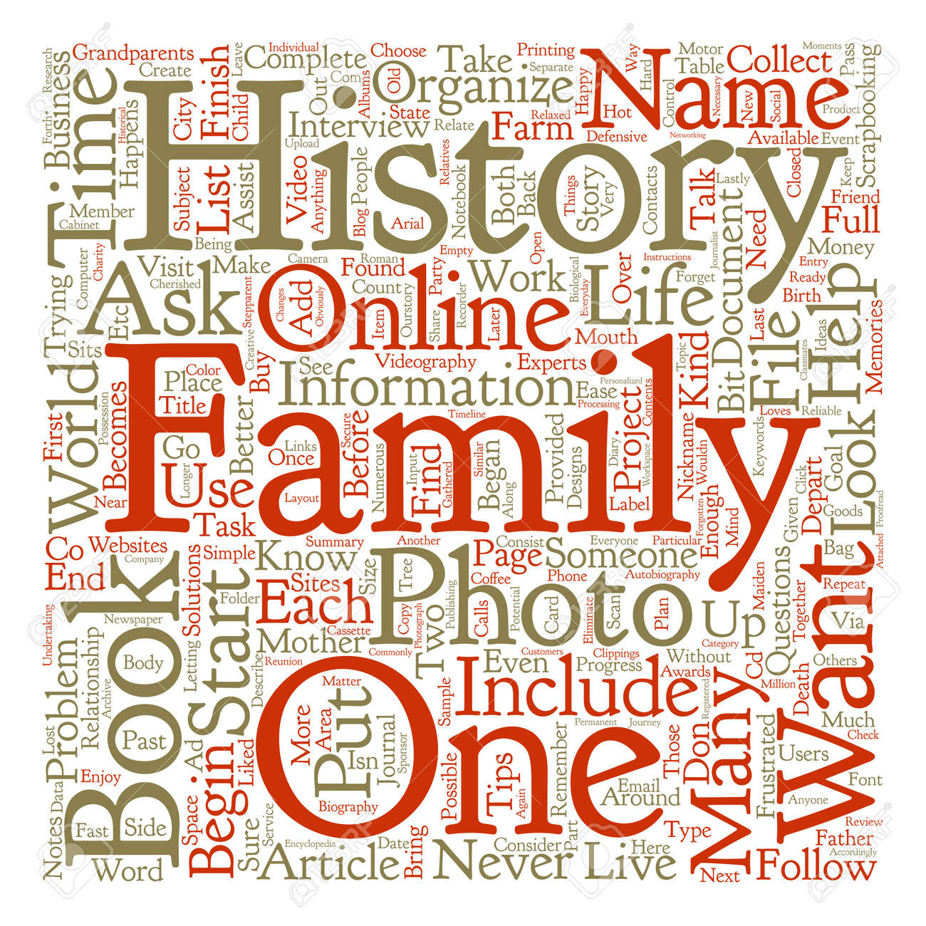 how to organize a book about family history text background word