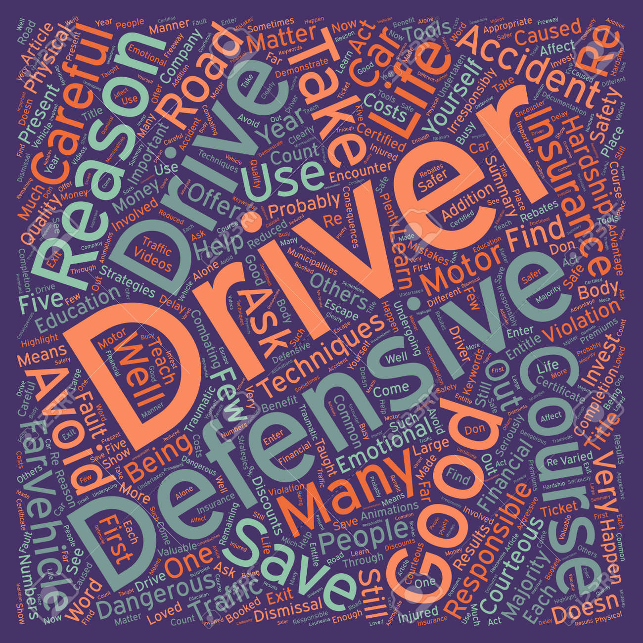 Five Good Reasons To Take A Defensive Driver Course text background wordcloud concept - 73032729