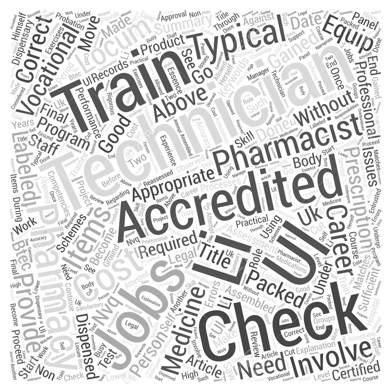 accredited checking technician jobs provide a good vocational career word cloud concept stock vector 73065916
