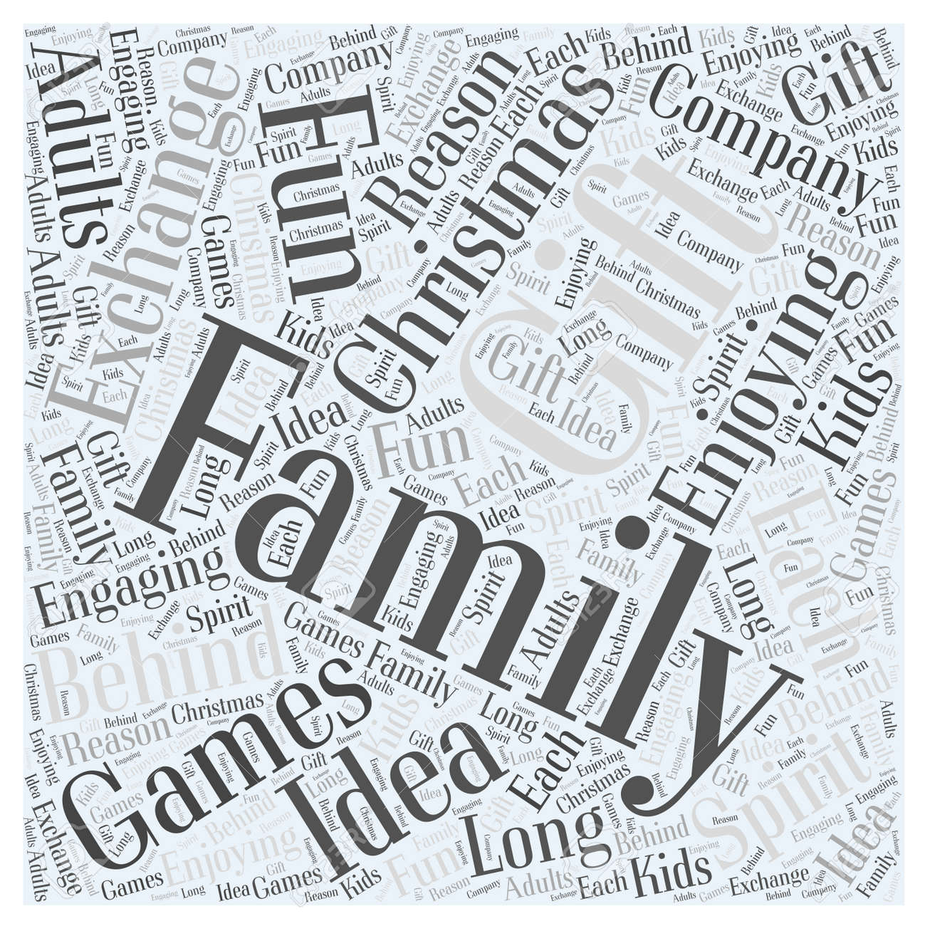 Family Christmas Gift Exchange Games Word Cloud Concept Royalty Free ...