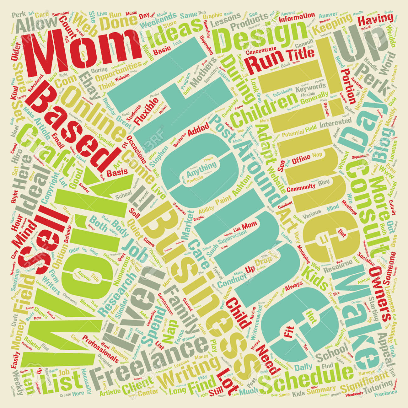 Home Based Business Ideas for Work at Home Moms text background