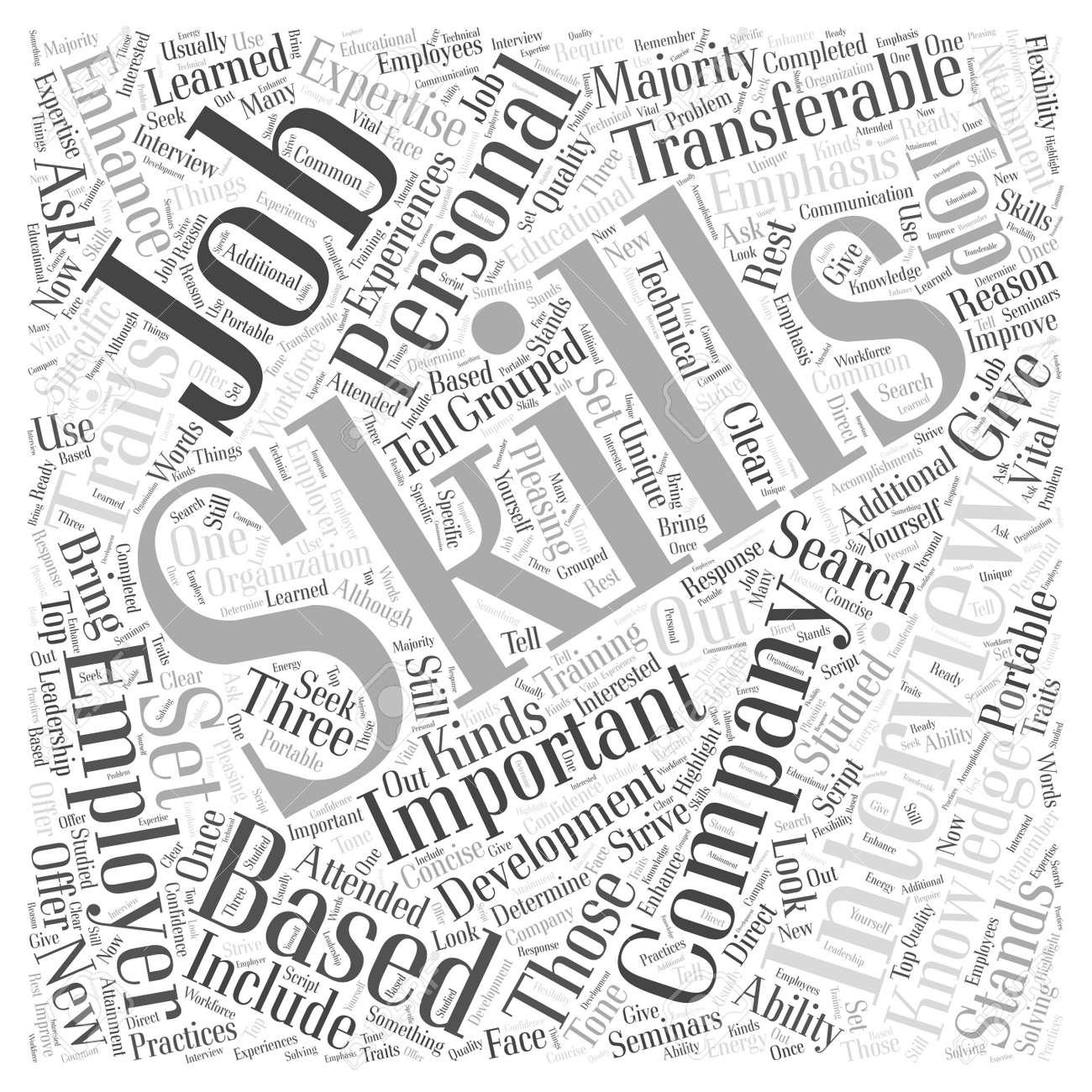JH Habilidades énfasis Entrevista De Trabajo Word Cloud Concept ...