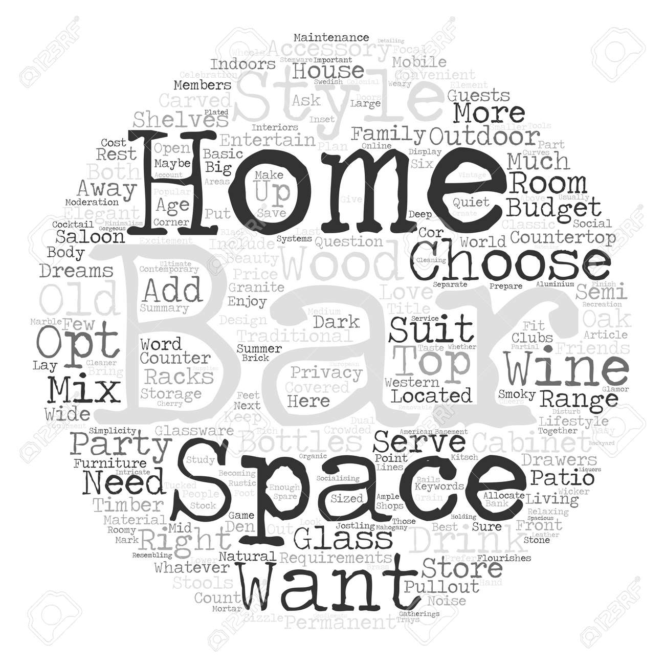 how to choose the right home bar for you word cloud concept text