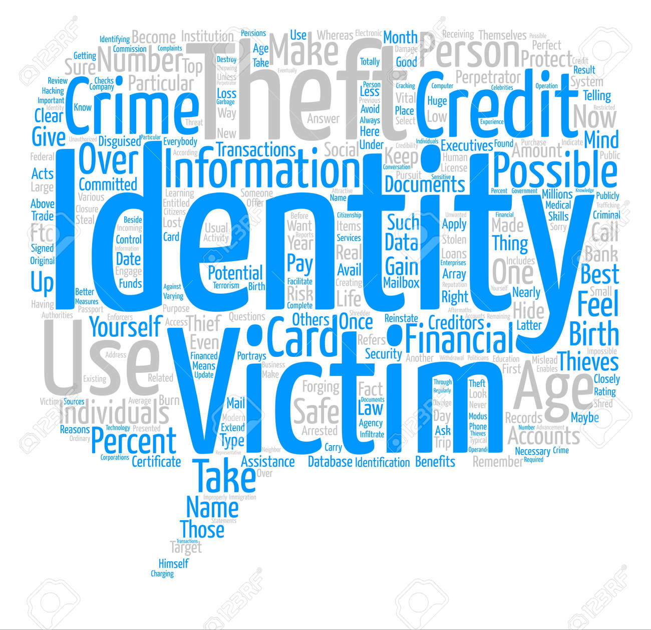identity theft text background wordcloud concept Stock Vector - 73497162